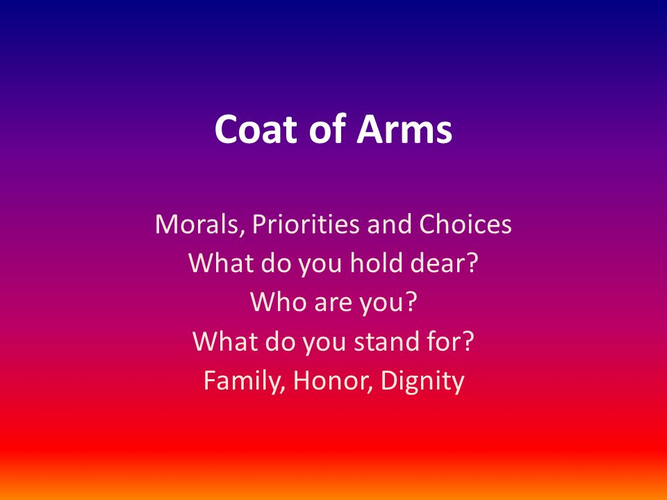 Morals, Priorities and Choices
