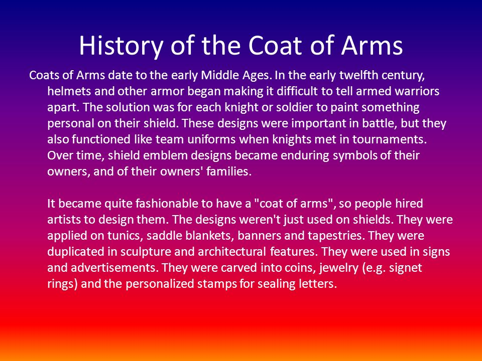 History of the Coat of Arms