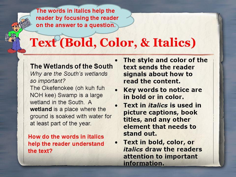 Text (Bold, Color, & Italics)