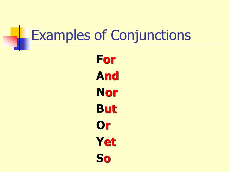Examples of Conjunctions