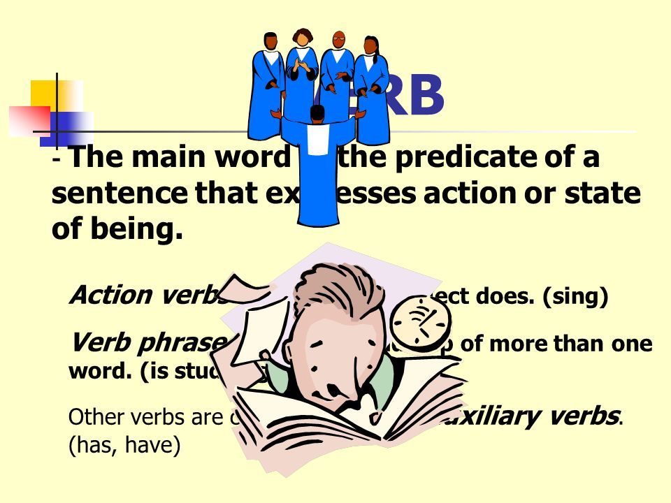 VERB Action verbs tell what the subject does. (sing)