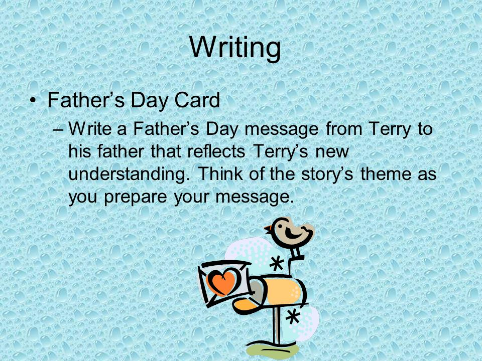 Writing Father's Day Card