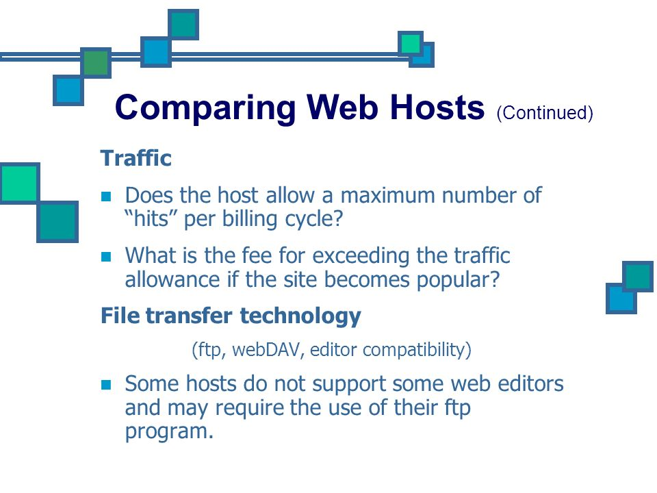 Comparing Web Hosts (Continued)