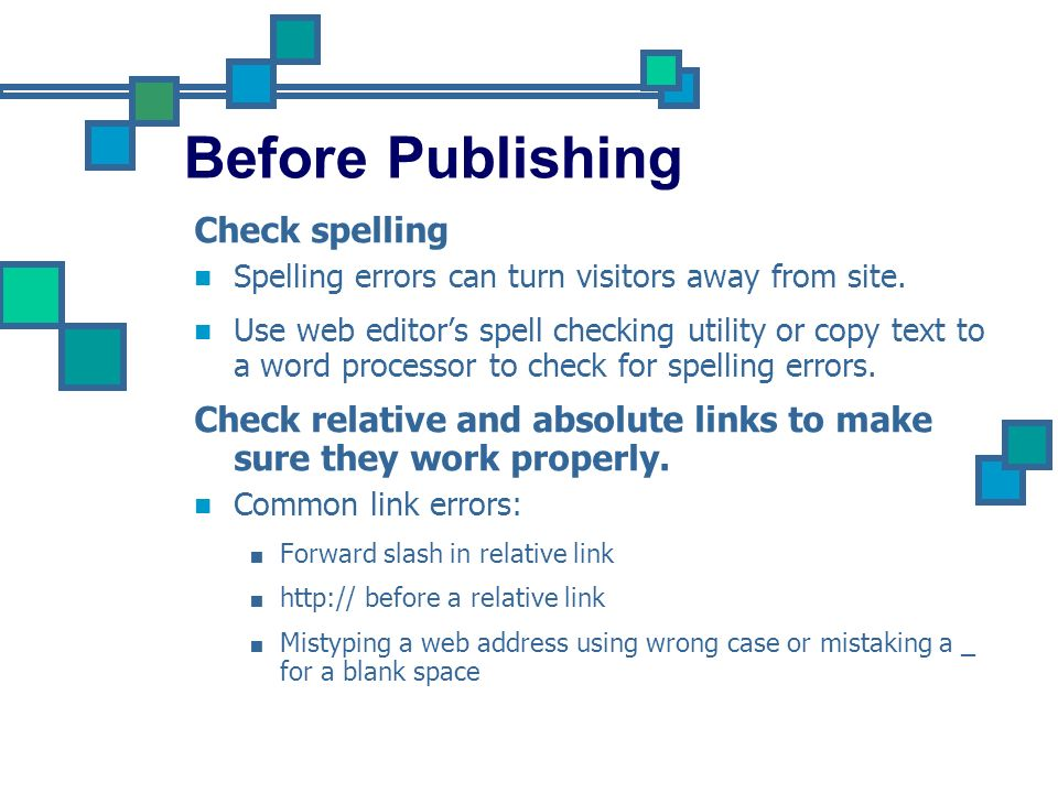Before Publishing Check spelling