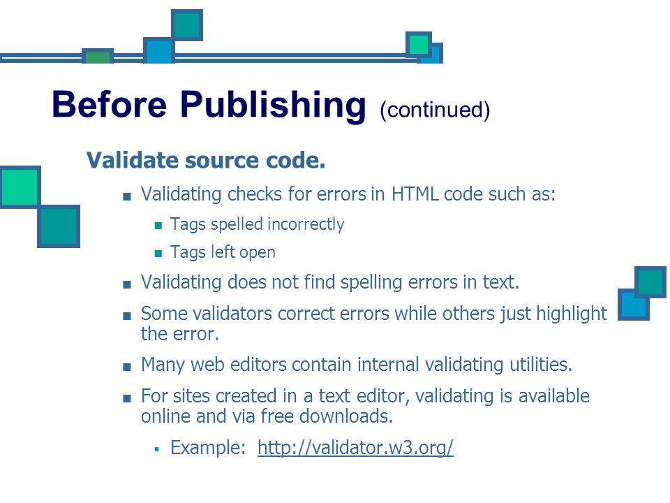 Before Publishing (continued)