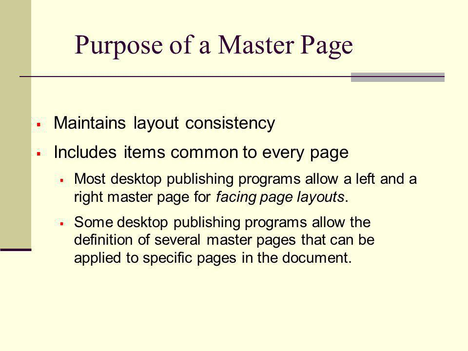 Purpose of a Master Page