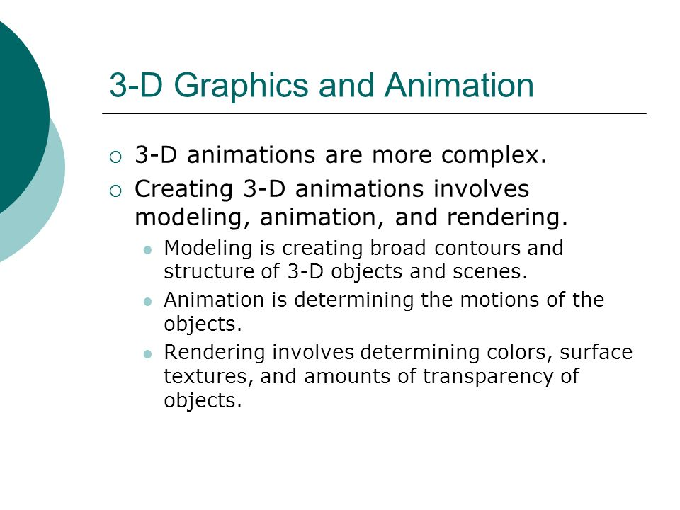 3-D Graphics and Animation