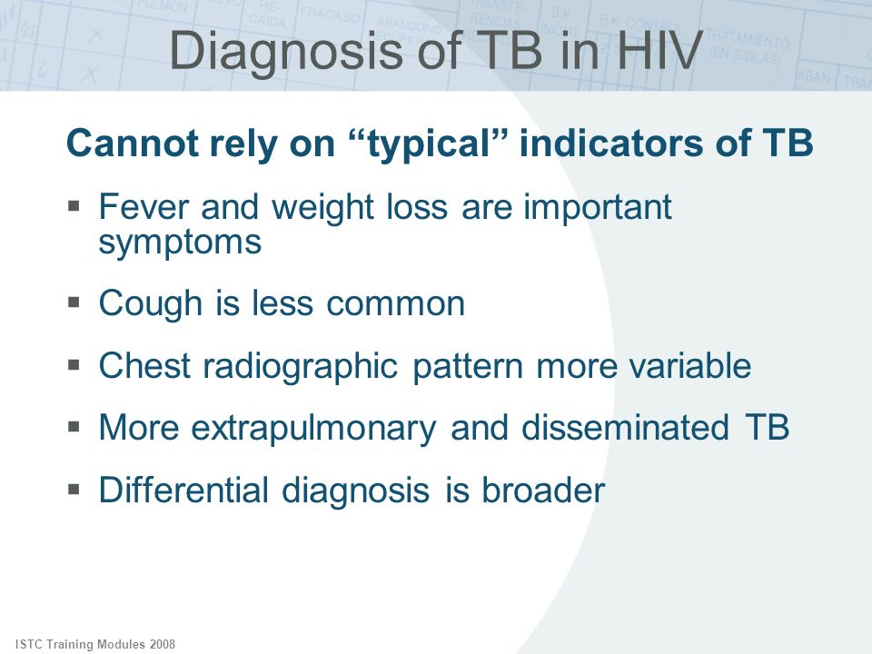 Diagnosis of TB in HIV Cannot rely on typical indicators of TB