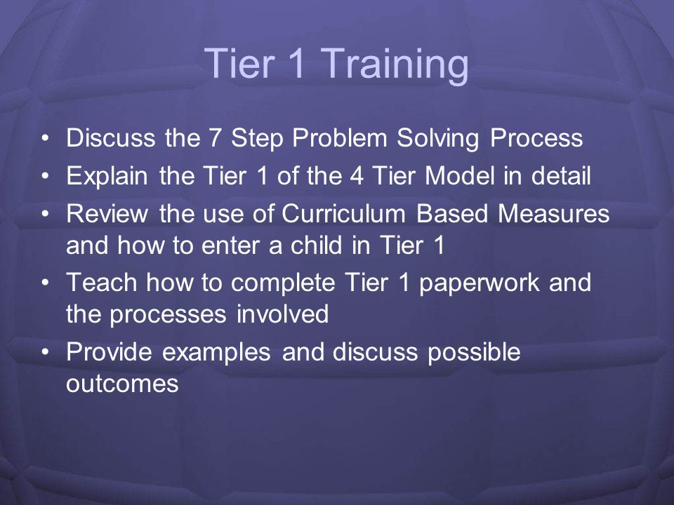 Tier 1 Training Discuss the 7 Step Problem Solving Process