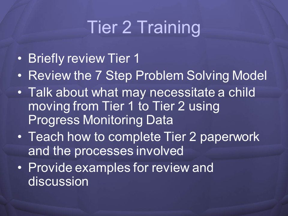 Tier 2 Training Briefly review Tier 1