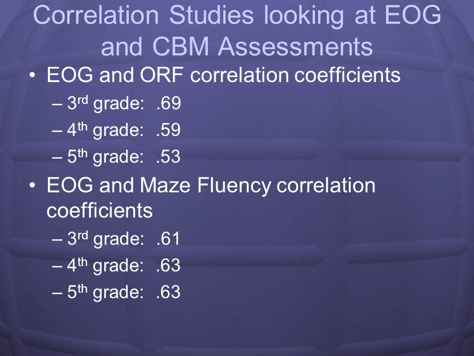 Correlation Studies looking at EOG and CBM Assessments