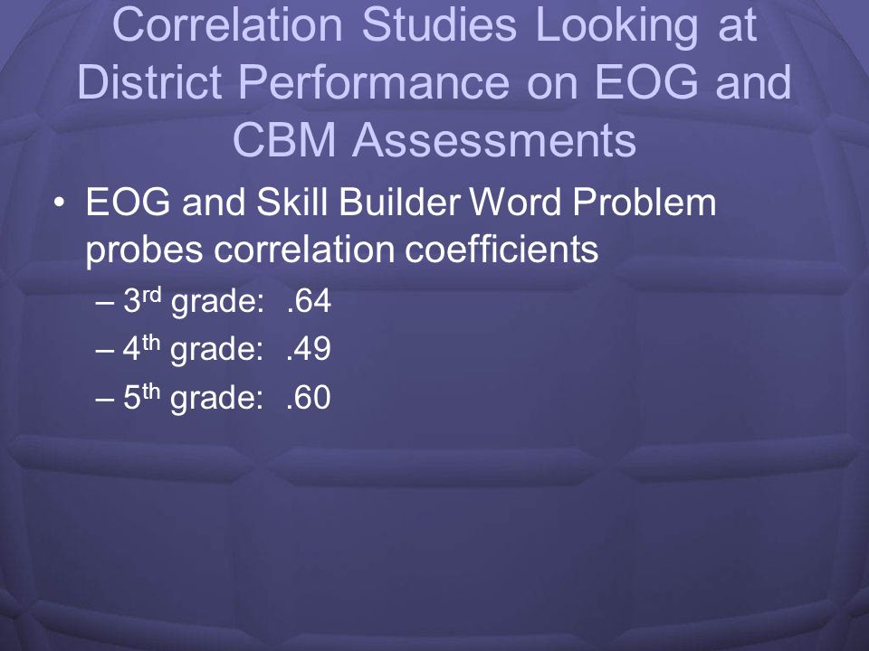 Correlation Studies Looking at District Performance on EOG and CBM Assessments