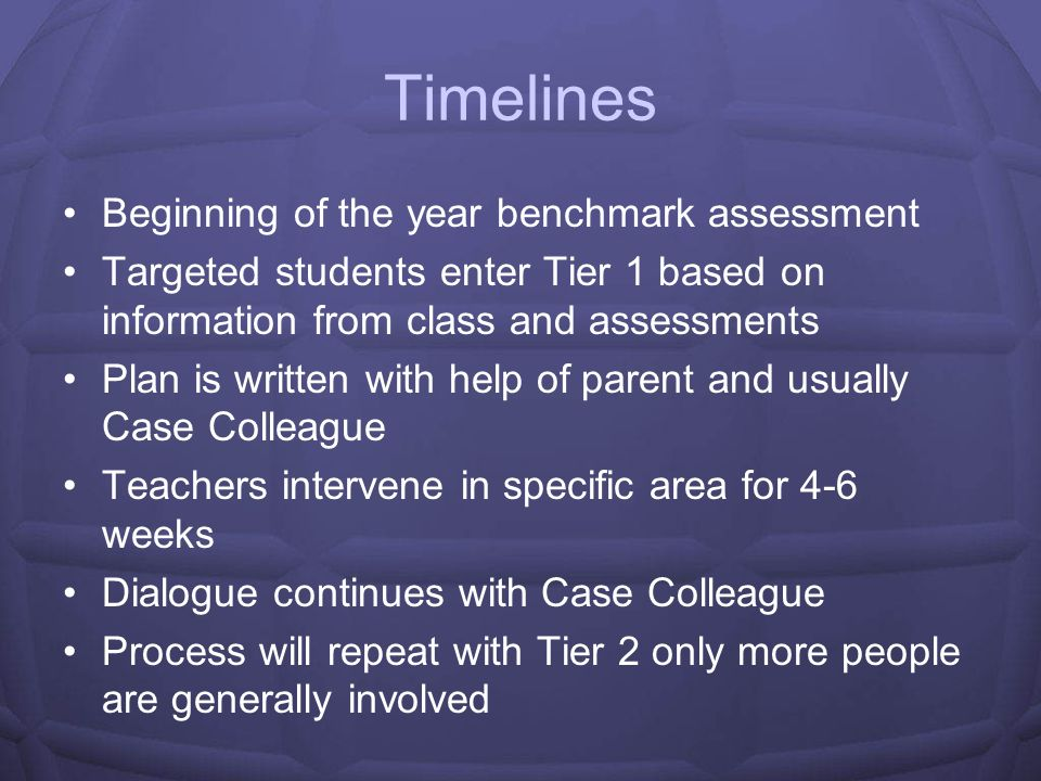 Timelines Beginning of the year benchmark assessment