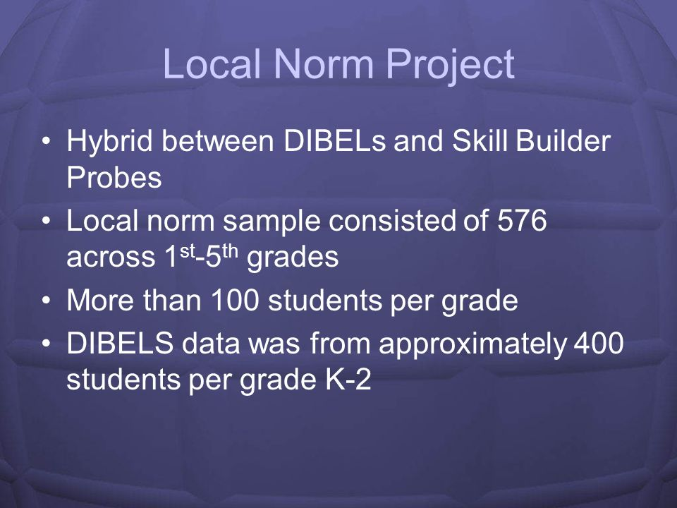 Local Norm Project Hybrid between DIBELs and Skill Builder Probes
