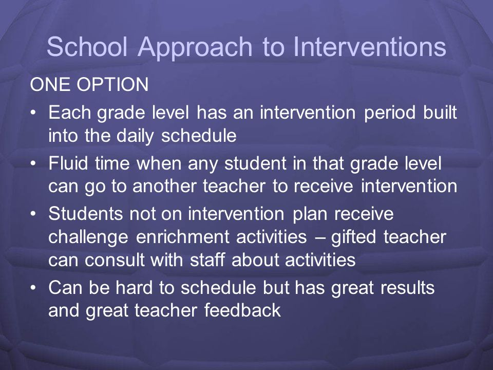 School Approach to Interventions