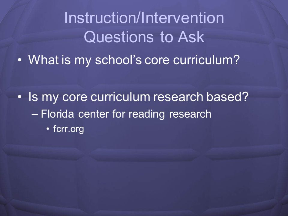 Instruction/Intervention Questions to Ask