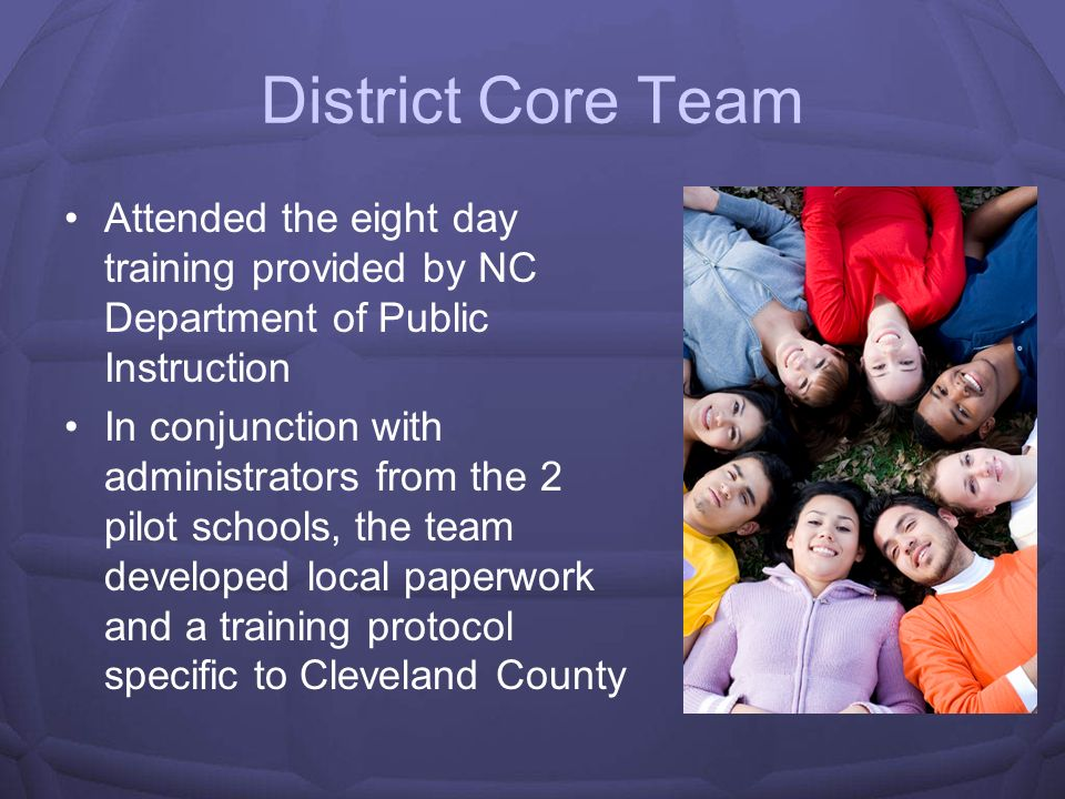 District Core Team Attended the eight day training provided by NC Department of Public Instruction.