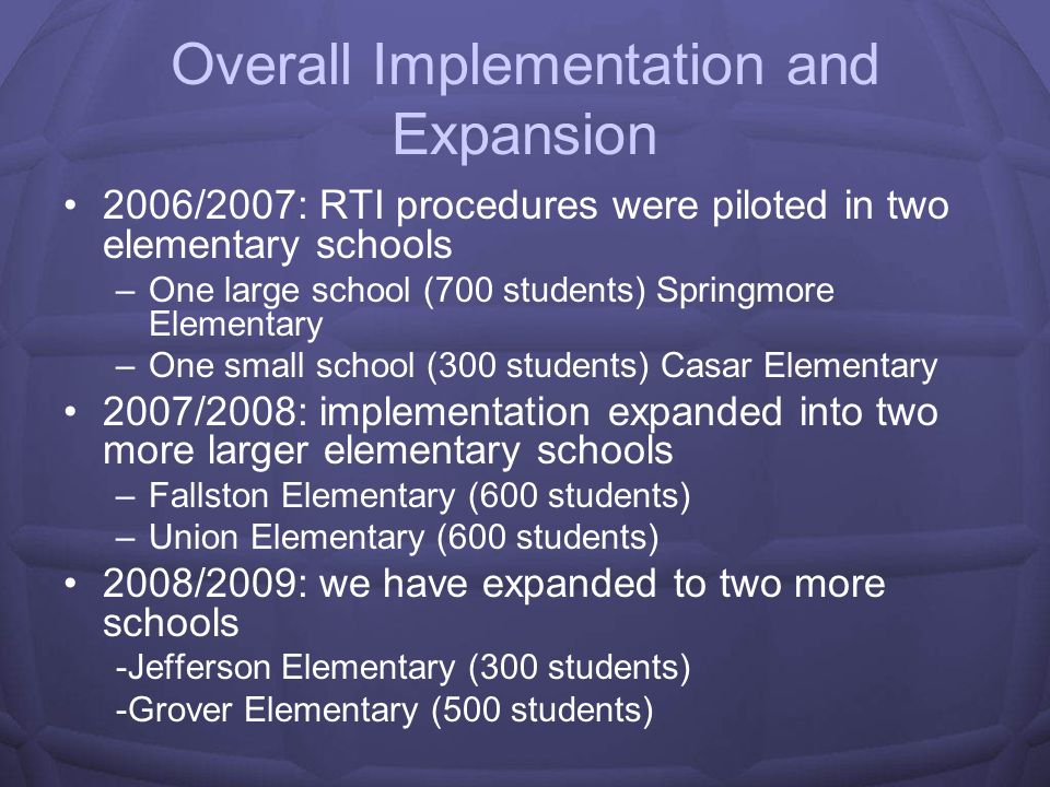 Overall Implementation and Expansion