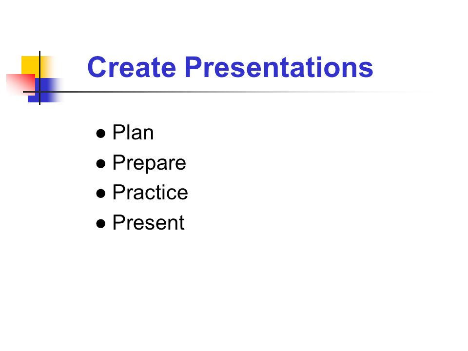 Create Presentations Plan Prepare Practice Present