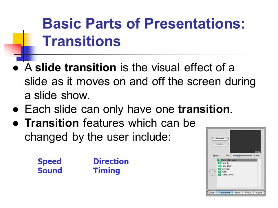 Basic Parts of Presentations: Transitions