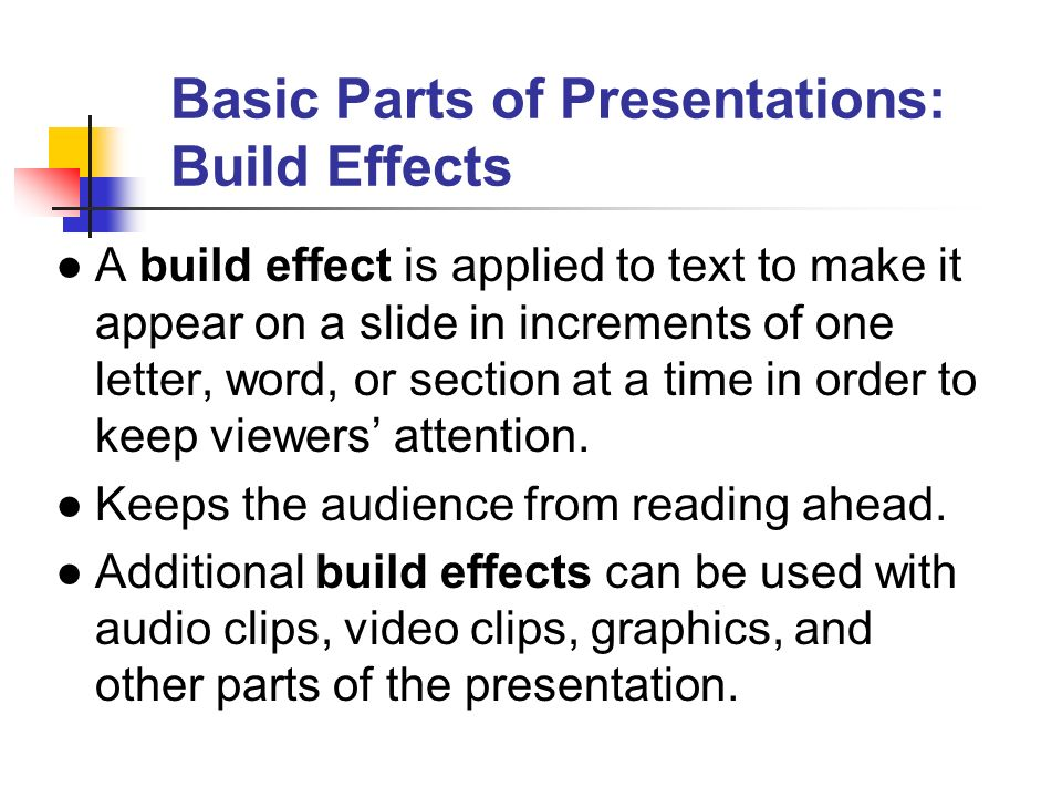 Basic Parts of Presentations: Build Effects