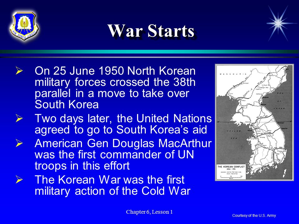 War Starts On 25 June 1950 North Korean military forces crossed the 38th parallel in a move to take over South Korea.