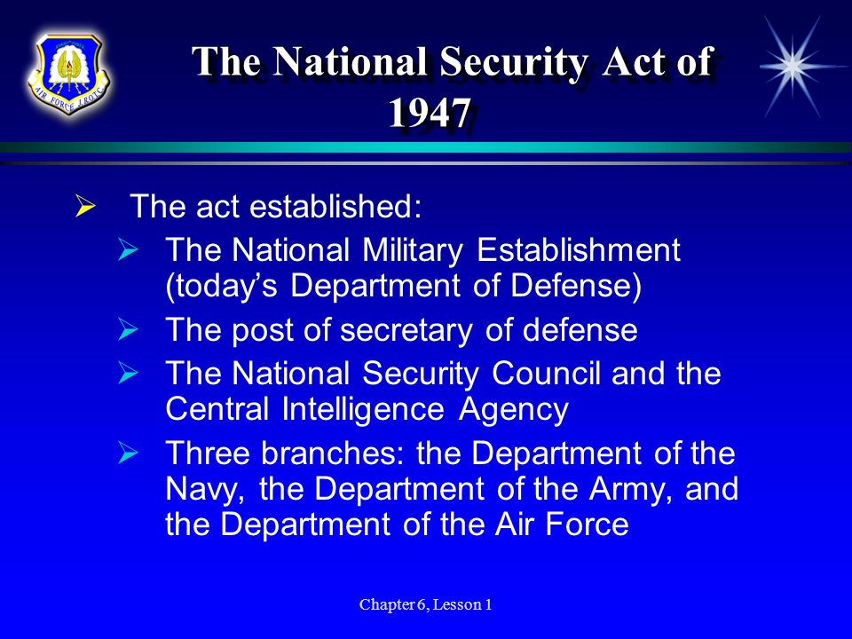 The National Security Act of 1947