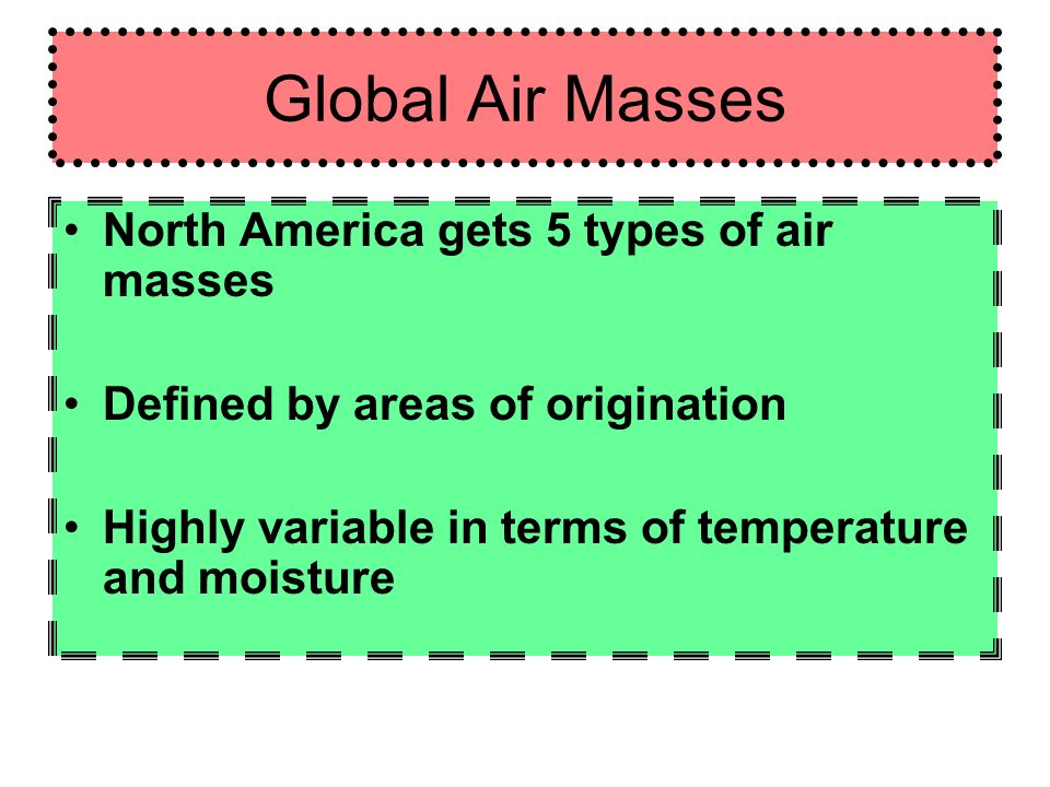 Global Air Masses North America gets 5 types of air masses