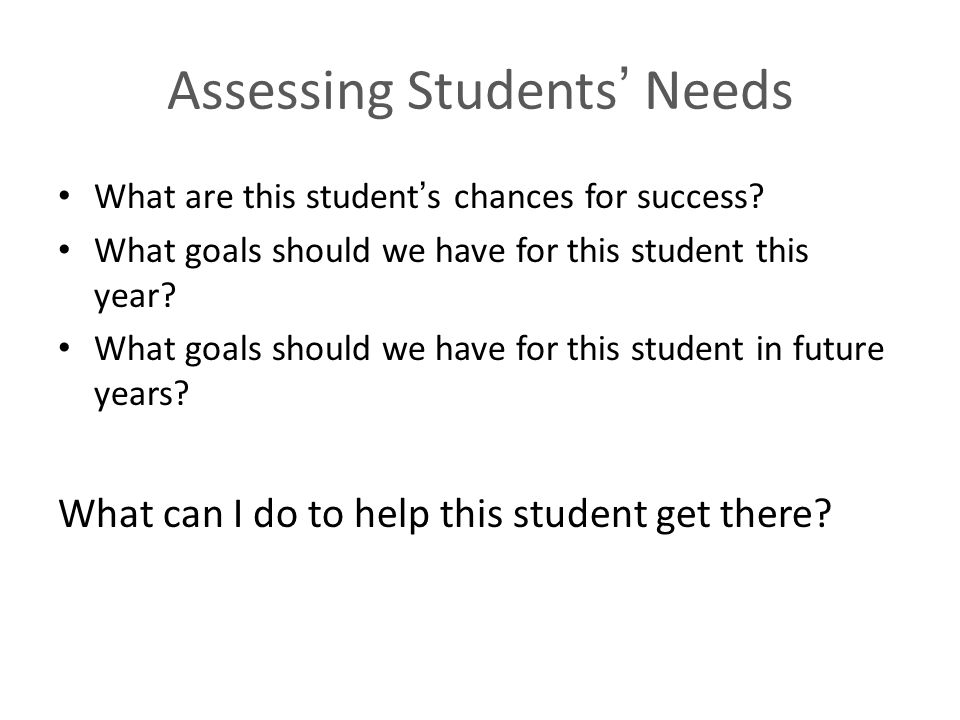 Assessing Students' Needs