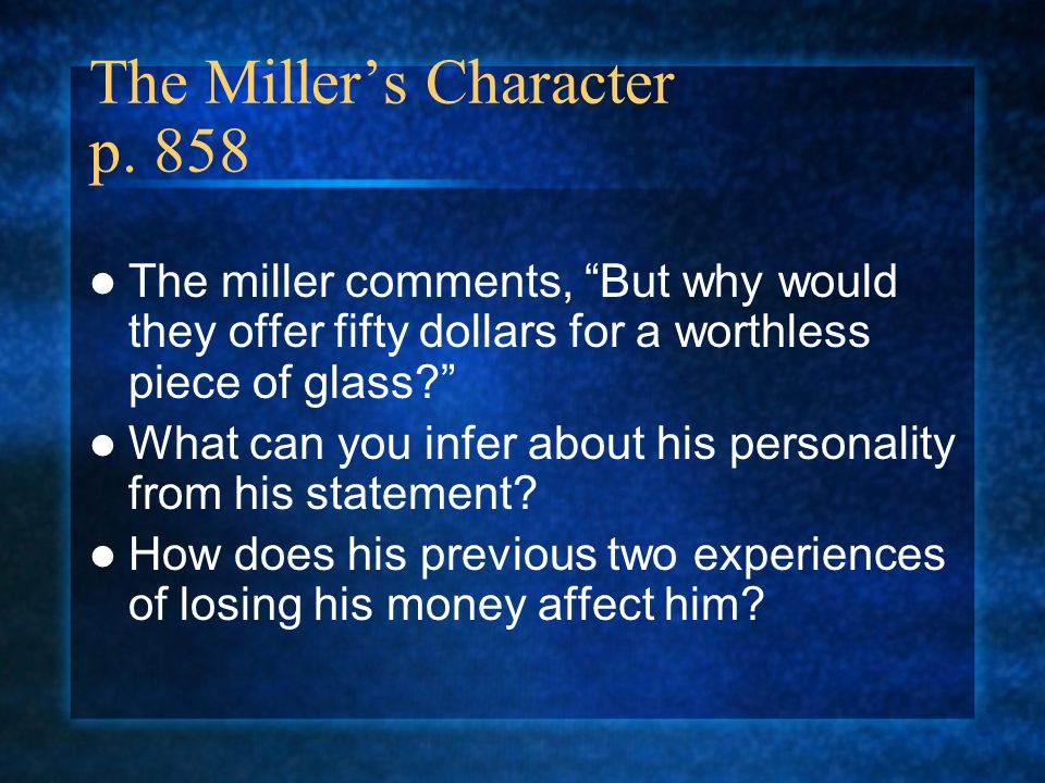 The Miller's Character p. 858