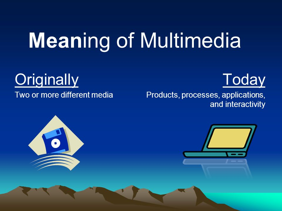 Meaning of Multimedia Originally Today Two or more different media
