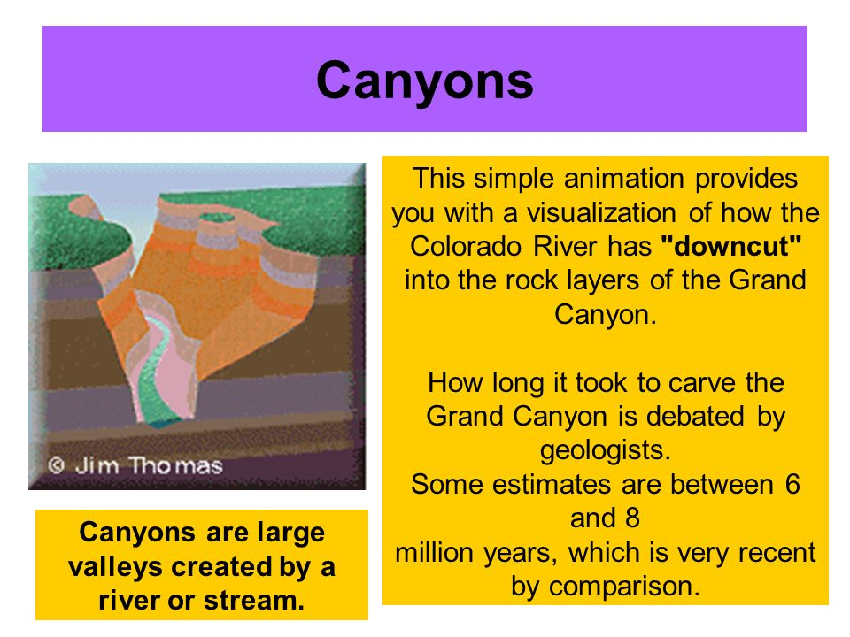 Canyons are large valleys created by a river or stream.