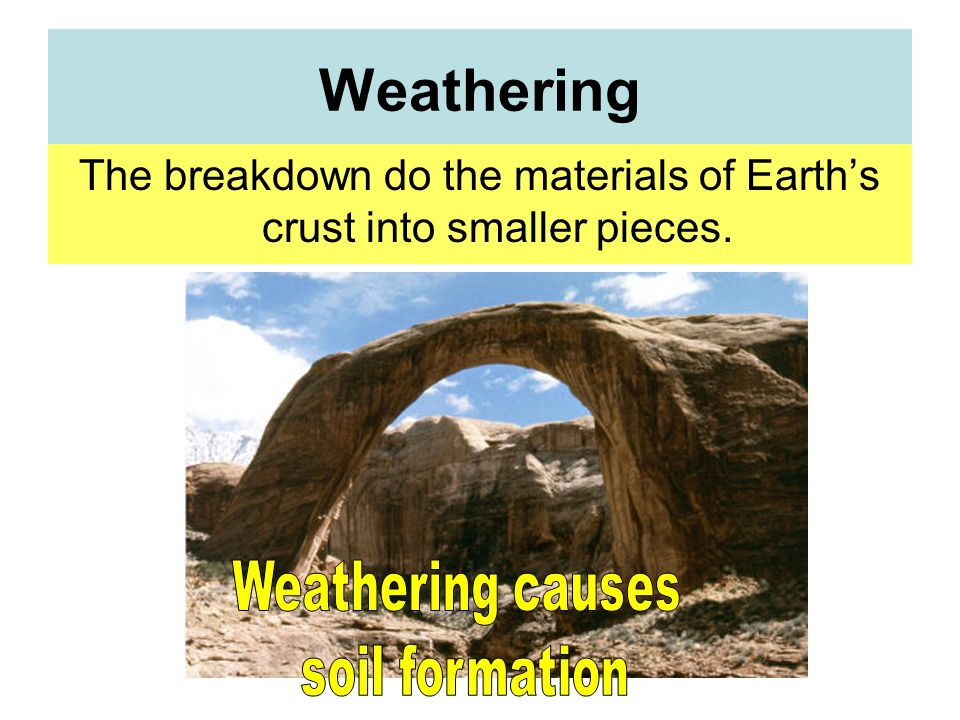 The breakdown do the materials of Earth's crust into smaller pieces.