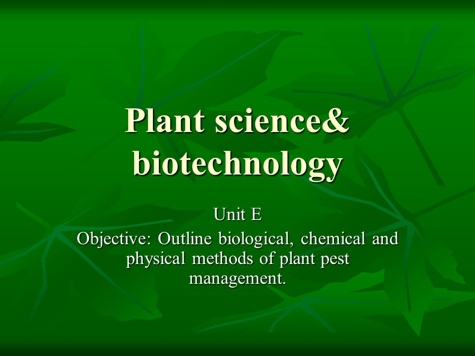 Plant science& biotechnology
