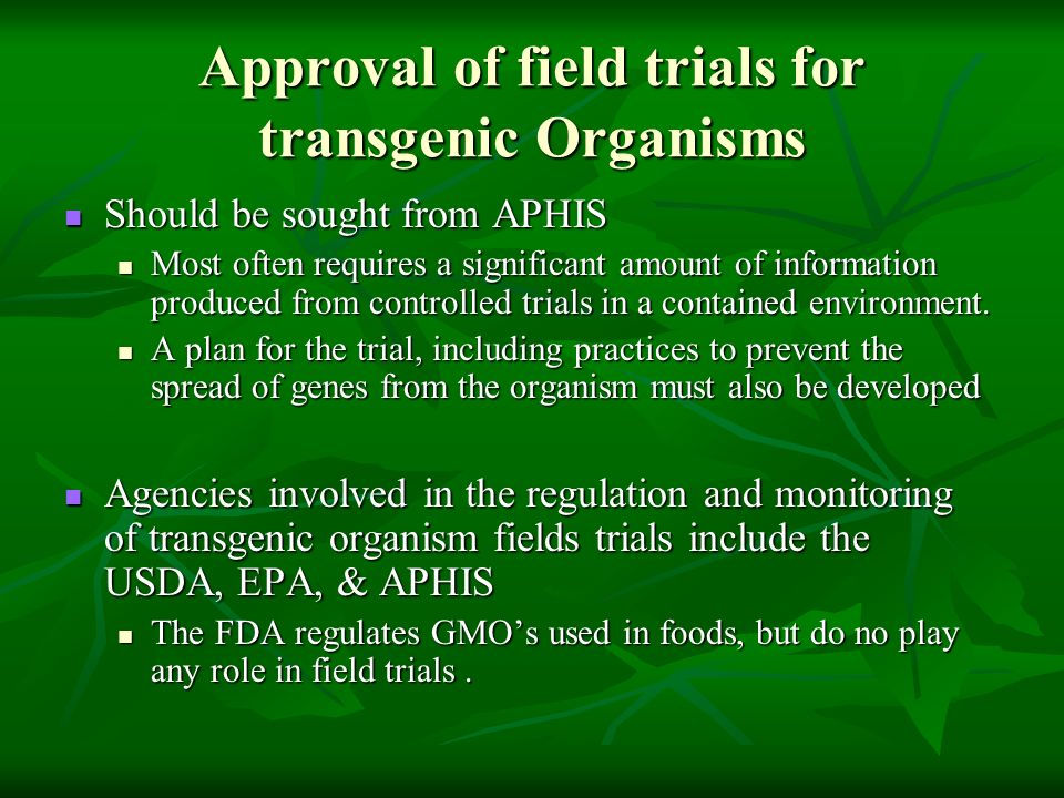 Approval of field trials for transgenic Organisms