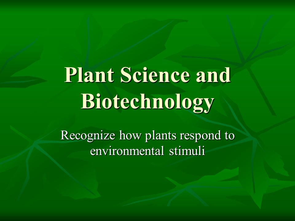 Plant Science and Biotechnology