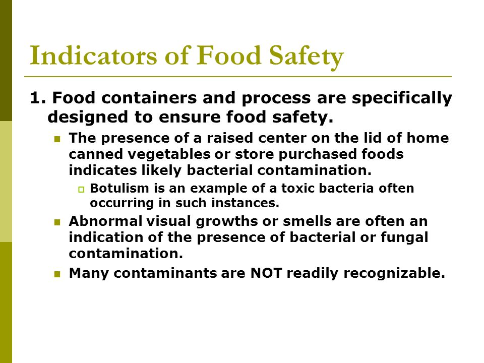 Indicators of Food Safety