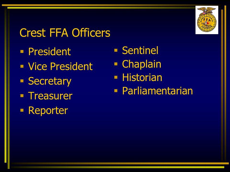 Crest FFA Officers President Vice President Secretary Treasurer