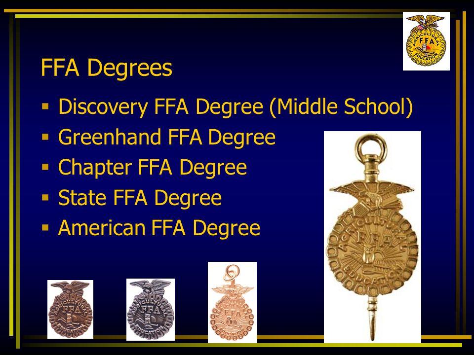 FFA Degrees Discovery FFA Degree (Middle School) Greenhand FFA Degree