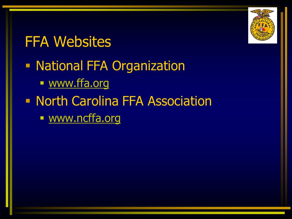 FFA Websites National FFA Organization North Carolina FFA Association