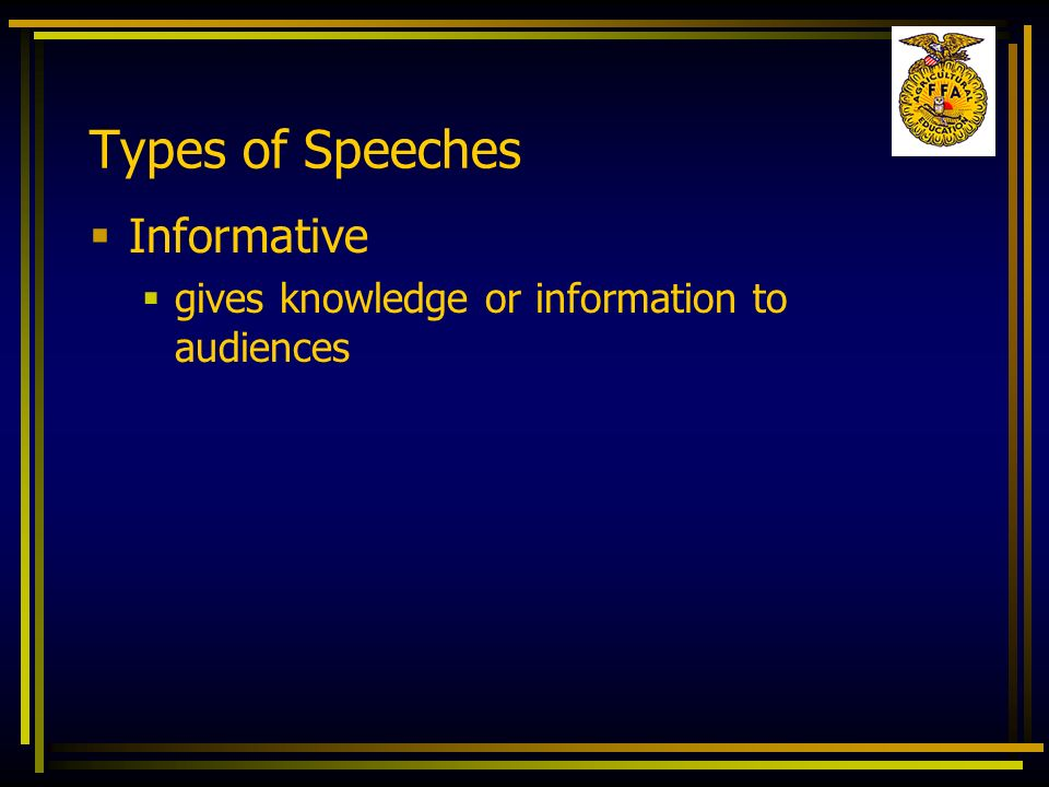 Types of Speeches Informative
