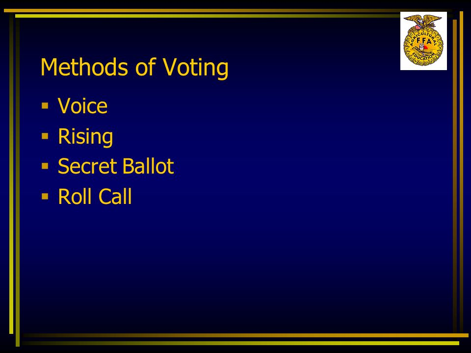 Methods of Voting Voice Rising Secret Ballot Roll Call