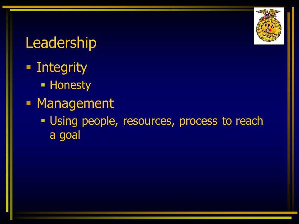 Leadership Integrity Management Honesty