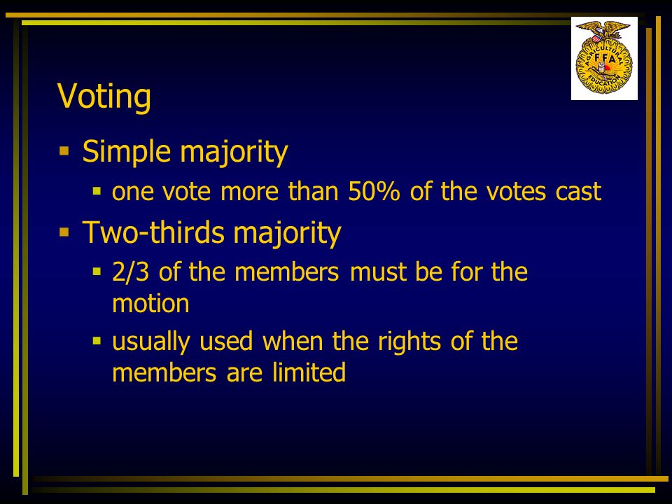 Voting Simple majority Two-thirds majority