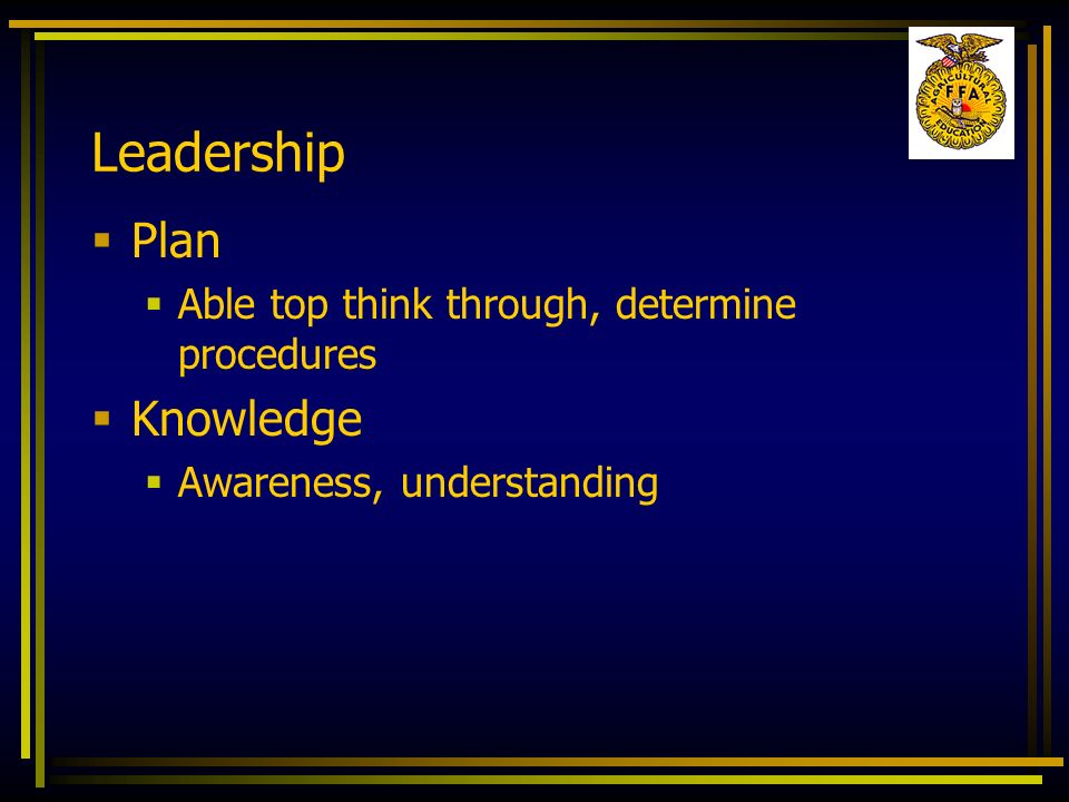 Leadership Plan Knowledge Able top think through, determine procedures