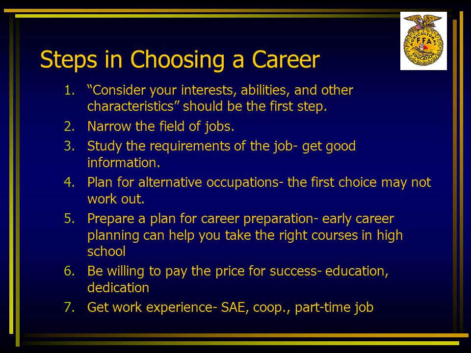 Steps in Choosing a Career