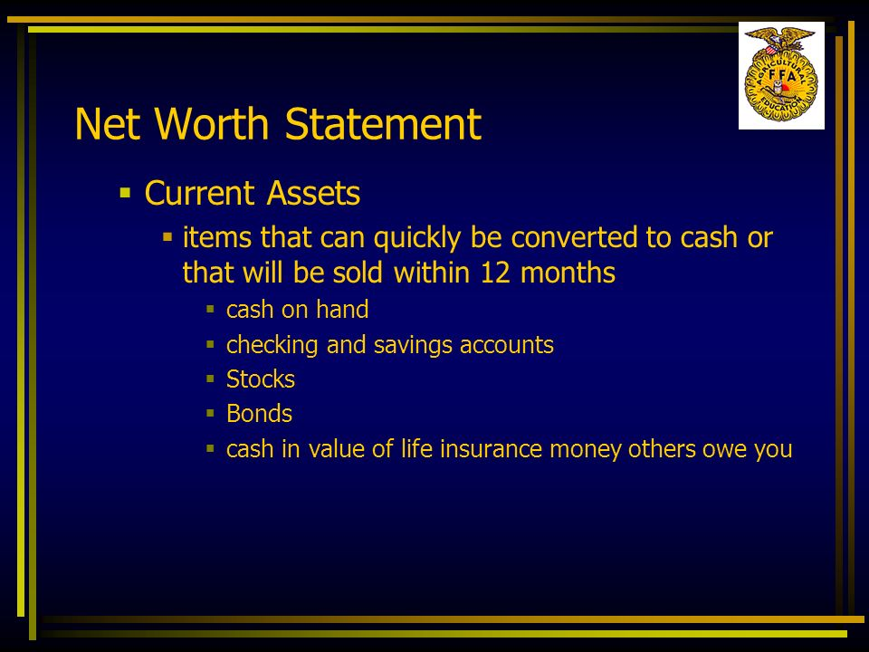 Net Worth Statement Current Assets