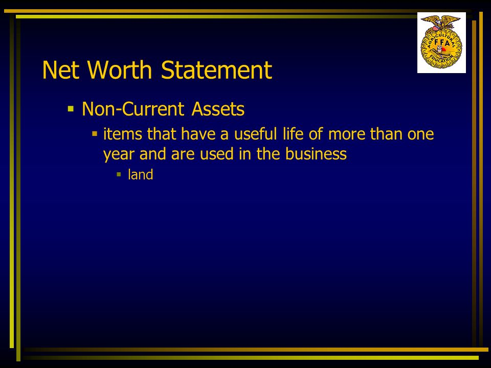 Net Worth Statement Non-Current Assets