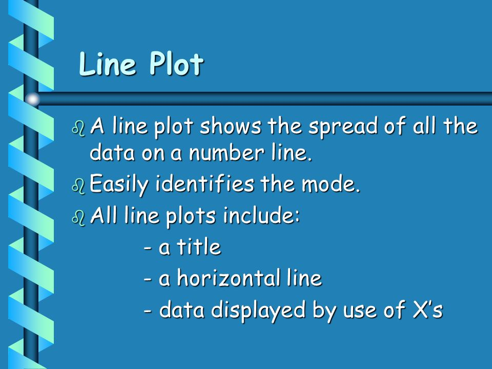 Line Plot A line plot shows the spread of all the data on a number line. Easily identifies the mode.
