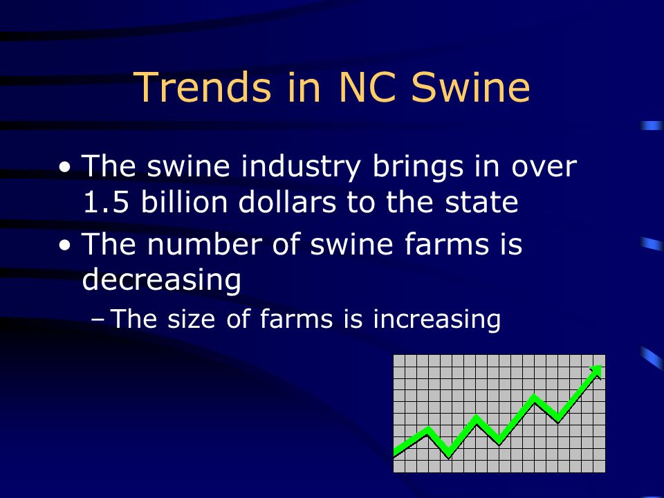Trends in NC Swine The swine industry brings in over 1.5 billion dollars to the state. The number of swine farms is decreasing.